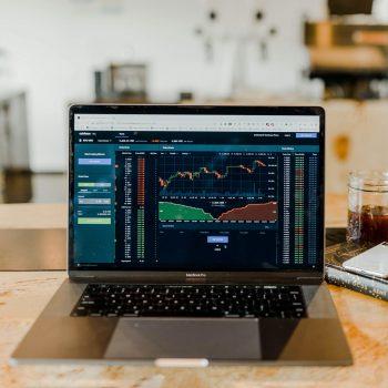stock market analysis on laptop